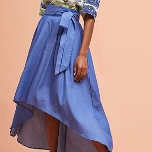 Anthropologie Della Bee Chambray Midi Skirt